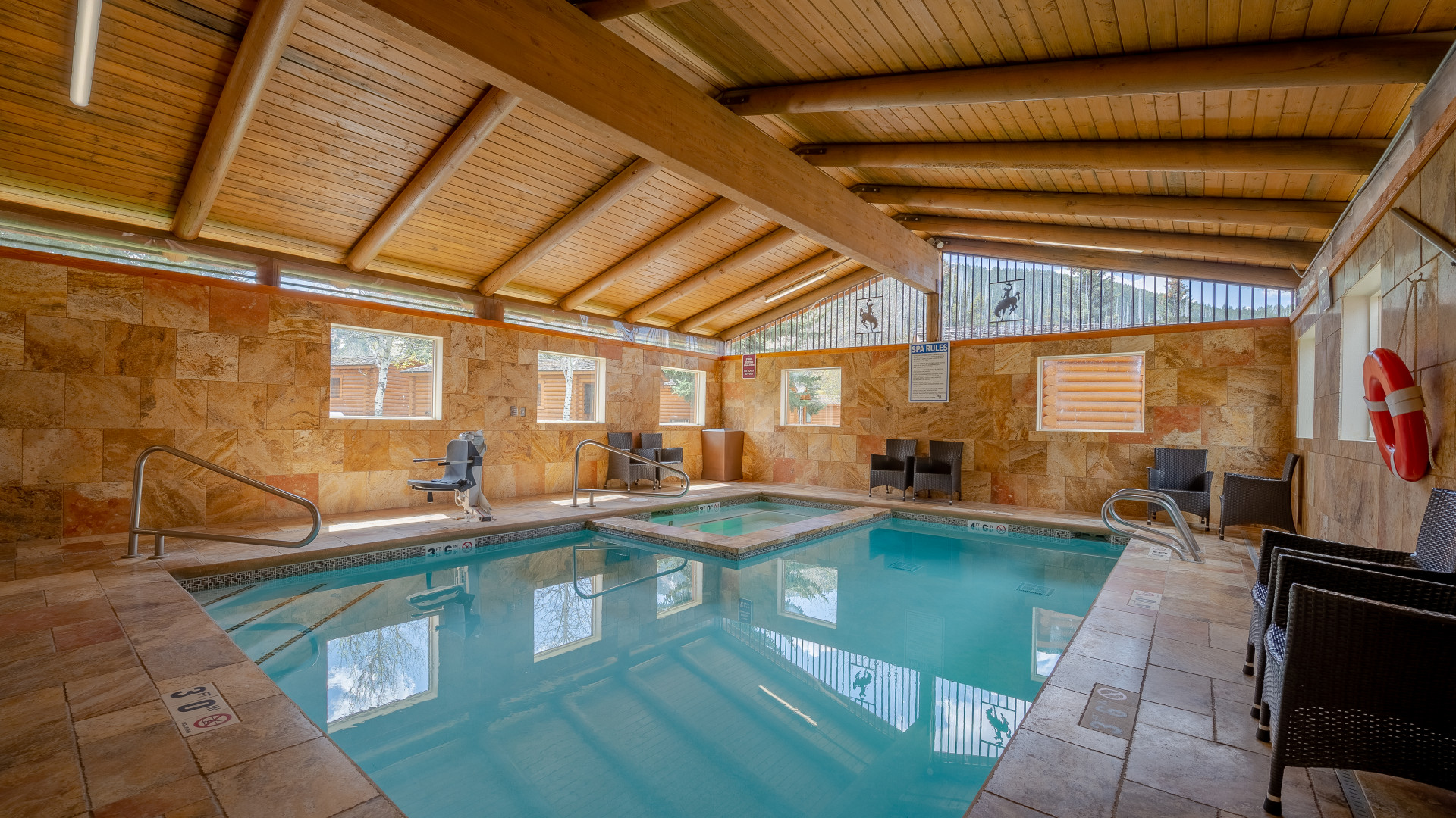 Relax and soak in the indoor pool and hot tub.