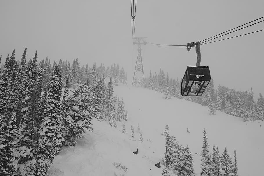 winter ski setting and gondola near Jackson Hole, WY